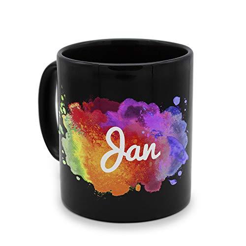 printplanet - Tasse Schwarz mit Namen Jan - Motiv: Color Paint - Namenstasse, Kaffeebecher, Mug, Becher, Kaffeetasse