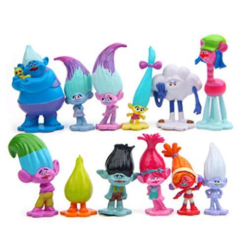 12pcs Trolls Toys, Mini Trolls Action Figures,Cake Toppers,Trolls Cake Tall 1.18'-2.76'(3-6cm)