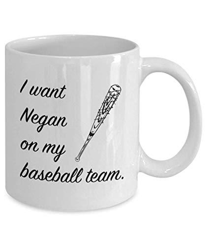 N\A Quiero a Negan en mi Equipo de béisbol Taza de Negan Lucille The Walking Dead Fan Gift White Coffee Tea Cup