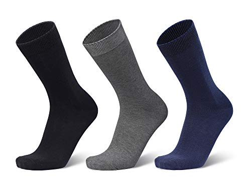 ANCHOR, Men's Full/Calf Length Cotton Business/Formal Socks, Free Size, Combo Pack of 3 (Navy Blue, Black, Dark Grey)
