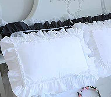 "Meaning4 2-Pack Bright White Pillow Shams Cases Covers with Lace and Ruffles and Lace Egypt Cotton Queen Size 20""X30""Soft Boudoir Cute"