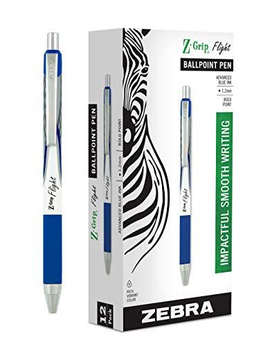 Zebra Pen Z-Grip Flight Retractable Ballpoint Pen, Bold Point, 1.2mm, Blue Ink, 12-Count