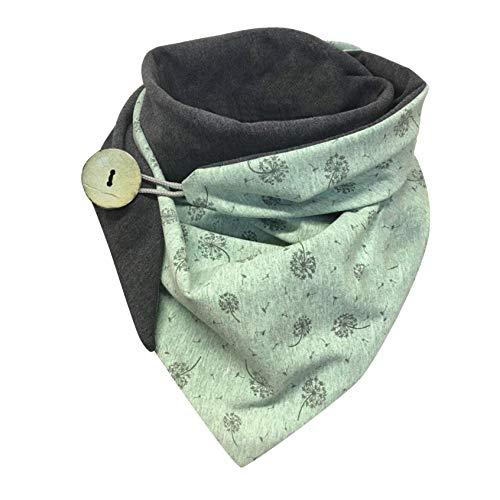 écharpe Femme, Foulard Triangle Chaud Rétro Femme,étoiles Impression Doux Enveloppement écharpes Chaudes Châles Avec Bouton-Lonshell (Vert K)
