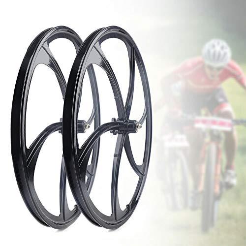 26' MTB Bike Mag Wheel Set 6-Spoke Bicycle Front Rear Rim Wheel White Disc Brake 7/8/9/10 Speed (Black)