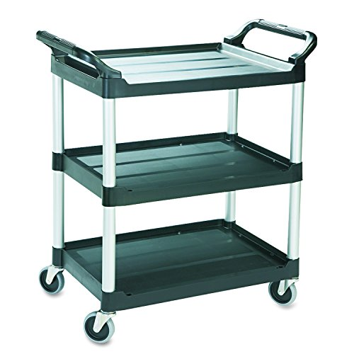 Rubbermaid Commercial Economy Plastic Cart, Three-Shelf