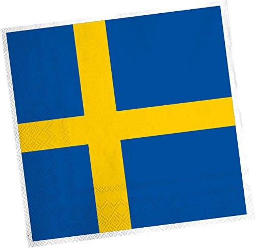 DH-Konzept 20 Servietten * SCHWEDEN * für Party und Geburtstag Sweden Skandinavien Party Set Napkins Papierservietten