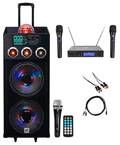 NYC Acoustics Dual 12' Karaoke Machine/System w/2) Mics 4 ipad/iphone/Android/TV