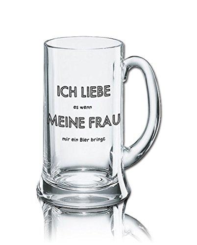 Lustiges Bierglas Bierkrug Icon 0,5L - Dekor: ICH LIEBE es wenn MEINE FRAU mir ein Bier bringt