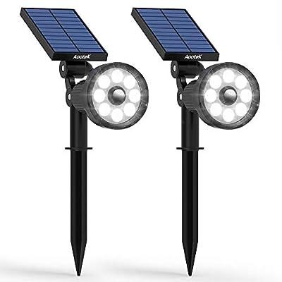 Aootek solar lights Landscape Spotlights,upgraded Smarter PIR Motion Sensor with 3modes(Security/ Permanent On all night/ Smart brightness control) Waterproof for Yard Garden Walkway Porch Pool Patio