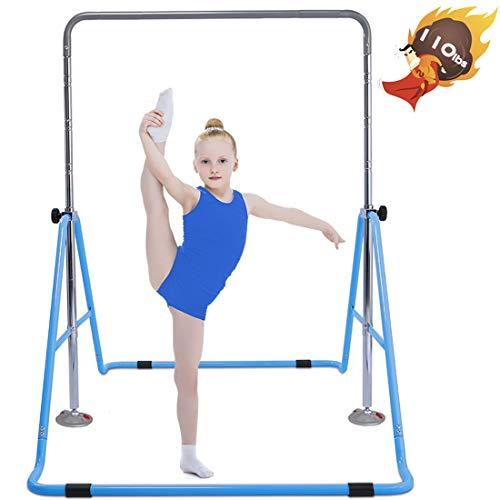 Safly Fun Expandable Gymnastics Bars Junior Training Bar Gymnastic Folding Horizontal Bars with mat for Kids(Blue+Mat)