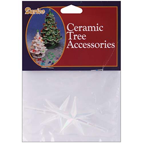 Darice Ceramic Christmas Tree Stars 2.75inX1.875in 2/Pkg-Iridescent