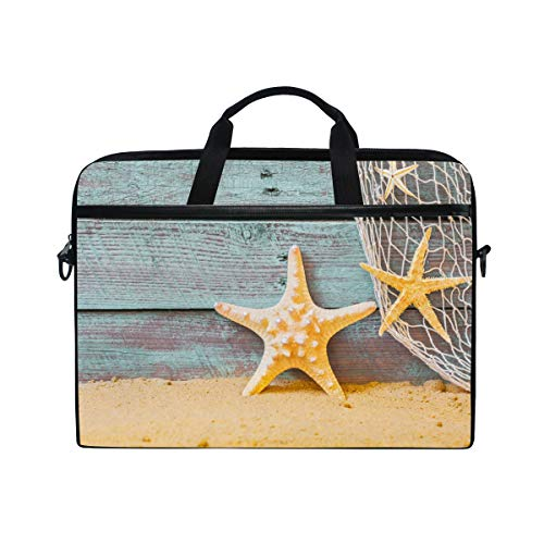 ISAOA Nautical Background with Starfish and Fishing Ne Laptop Bag,Light Weight Shoulder Bag Laptop Messenger Bag Case Sleeve for 14-15.6 inch Notebook Computer Bag for Travel/Business/School