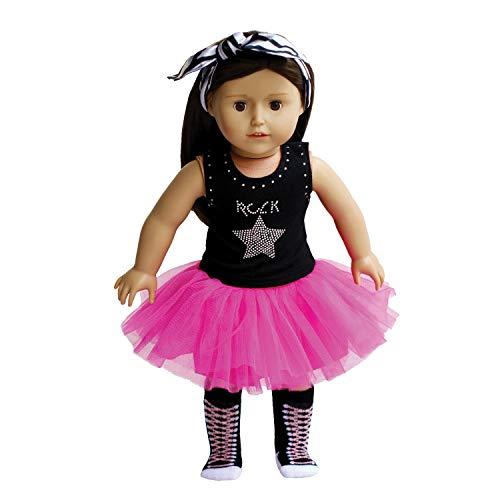 The New York Doll Collection Herrlich Flauschige Komplett Rockstar Outfit für Mode Mädchen Puppen Inklusive Rockstar Tutu - Socke - Stirnband - Passt 18 Zoll/46 cm Puppen - Puppenkleidung und zubehör