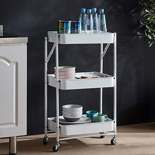 Carrito de servicio carrito de cocina con cesta de almacenamiento de 3 estantes, carrito de almacenamiento con ruedas para la cocina, la oficina, el jardín (color blanco)