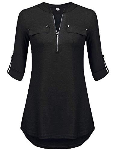Damen Oberteile Langarm Locker Blusen Solid v Ausschnitt Longshirt Tunika (A-schwarz,L)
