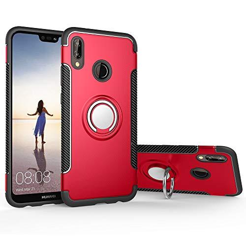 stengh Funda para Huawei Nova 3i INE-LX2 / P Smart+ INE-LX1 / P Smart Plus INE-L21 Funda + Soporte de anillo giratorio de 360 grados, color rojo
