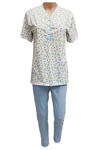 Pijama de verano para mujer, 100% algodón, ligero, CRV, Cravana, media manga, pantalón largo, modelo Pijama Roberta, Elin, producto italiano, Made in Italy, tallas S, M, L, XL, XXL, 3XL, XXXL, 4XL, XXXXL Elin 201 Cielo XX-Large