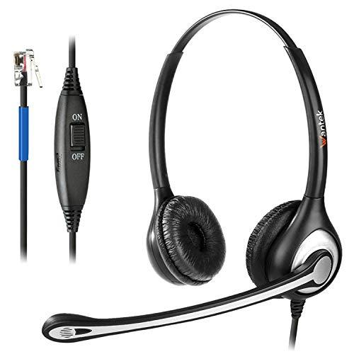 Wantek Auriculares Teléfono Fijo RJ9 Binaural, Micrófono con Cancelación de Ruido, Cascos con Control de Volumen para Cisco 7942 7945 7971 o Amplificadores Plantronics M10 M12 M22 MX10(F602C1)
