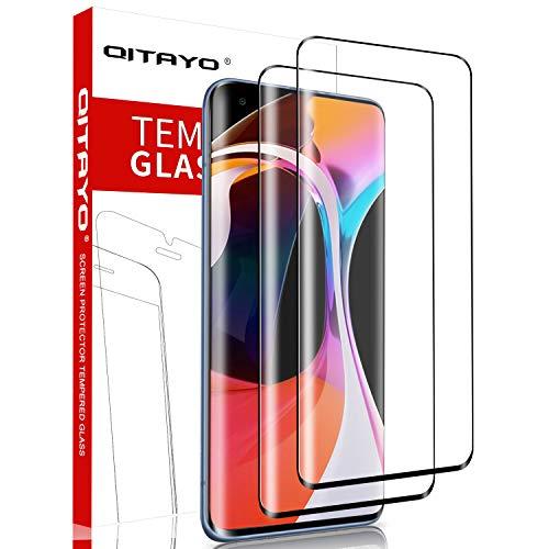 QITAYO, 2 Stück, Panzerglasfolie kompatibel mit Xiaomi Mi 10 und Xiaomi Mi 10 Pro, 9H Härte, 3D Vollständige Abdeckung, Panzerglas schutzfolie für Xiaomi Mi 10 / Xiaomi Mi 10 Pro