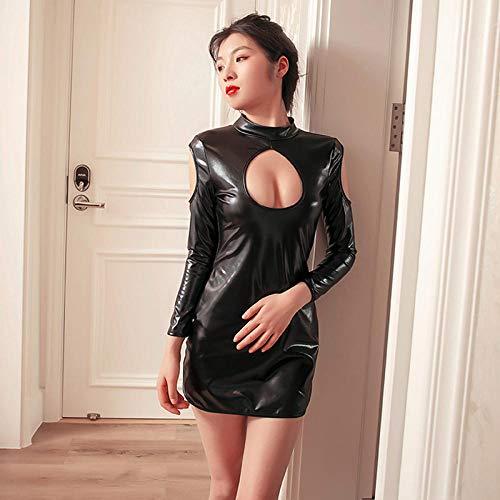 LNLJ Sexy kanten onderkant dames, Skinny strapless leren jas-black_L, Teddy Lingerie Romper