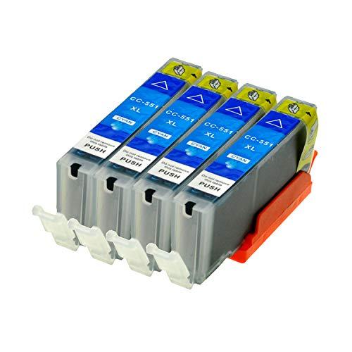 4 Druckerpatronen kompatibel für Canon CLI-551C XL IP-7250 8750 IX-6850 MG-5450 5550 6350 6450 7150 MX-725 925, Cyan