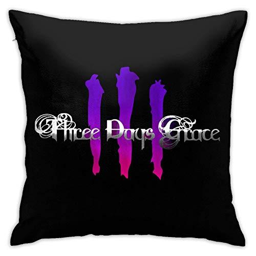 shenguang Cuadrada Funda de cojín Three Days Grace Logo Cuadrada con diseño de Tema Personalizado Familiar Funda de cojín para decoración de sofá de Oficina Sin Almohada 18 x 18 Pulgadas