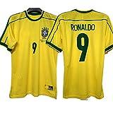 KCPERMAN 1998 Retro Jersey de fútbol Adecuado para Brasil Home Ronaldo Ronaldinho Rivaldo Carlos Fútbol Jersey, Número y Nombre Personalizados, Camiseta de Traje de Ropa DEPO #9-S