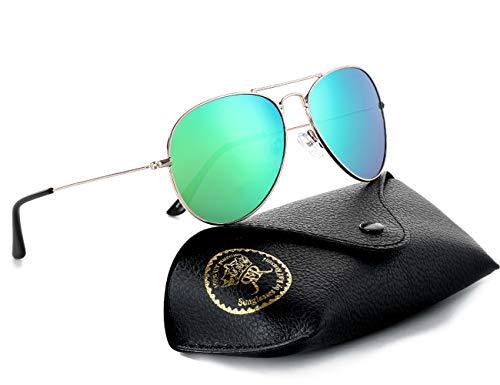 Rocf Rossini Gafas de Sol Aviador para Mujer Gafas Polarizadas Retro de Hombre con Protección UV400 para Pescar Conducir Playa(gold/green)