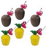 Tomaibaby Tazas de Coco con Pajita de Flamenco Piña Coco en Forma de Cuenco de Plástico para Luau Hawaiano Beach Theme Party Suministros Color Al Azar 12 Piezas