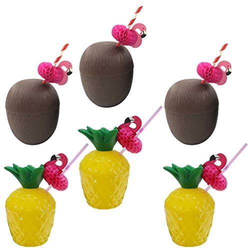 TOYANDONA Coconut Cups with Flamingo straw Pineapple Coconut shaped Plastic Bowl for Hawaiian Luau Beach Theme Party Supplies Random Color 12pcs