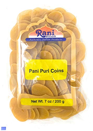 Rani Pani Puri Coins 7oz (200g) ~ Uncooked, Microwaveable wheat and Semolina Coins ~ All Natural   Vegan   NON-GMO