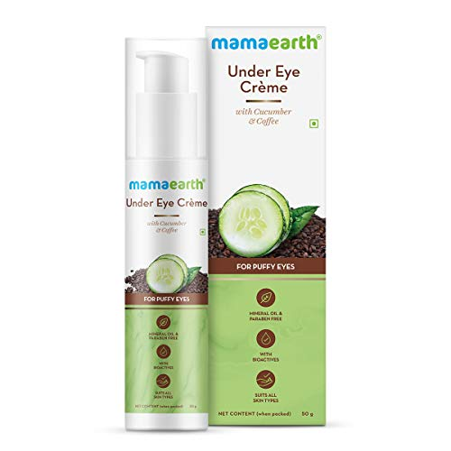 Mamaearth Natural Under Eye Cream for Dark Circles and Wrinkles with Coffee and Cucumber for Combination Skin