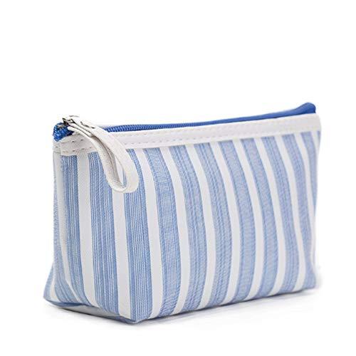BLI Multifunctional Ladies Cosmetic Storage Bag Zipper Tote Bag Travel Wash Waterproof Stripe Luggage Bag Blue