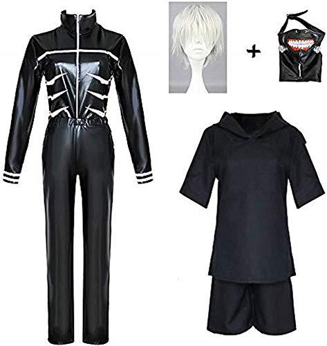 VICTORDOMO Tokyo Ghoul - Disfraz de cosplay con mscara y peluca, pelcula de anime Kaneki Ken Cosplay conjunto completo para Halloween, Navidad, carnaval en piel sinttica traje S + peluca + mscara