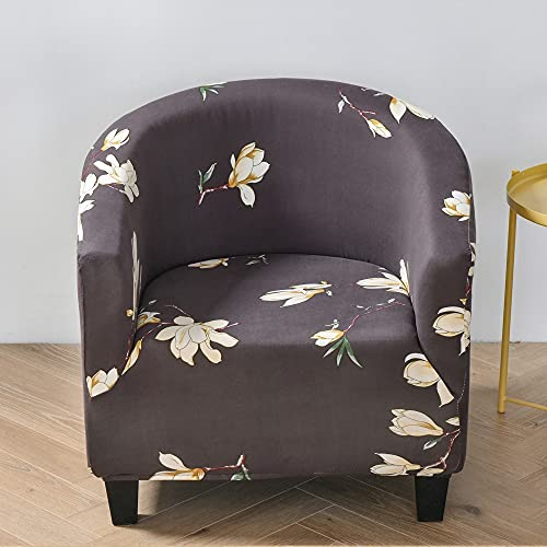 Highdi Stretch Tub Chair Slipcover 1 Piece Club Sofa Cover for Armchair, Dust Proof Universal Washable Nordic Printed Furniture Protector Cover Couch Covers for Living Room (Yellow magnolia)
