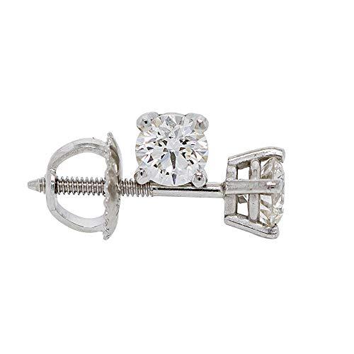 IGI Certified 0.50 Carat Clear Lab-Grown Diamond Stud Earrings 14k White Gold Womens Screw Back VS2-SI1