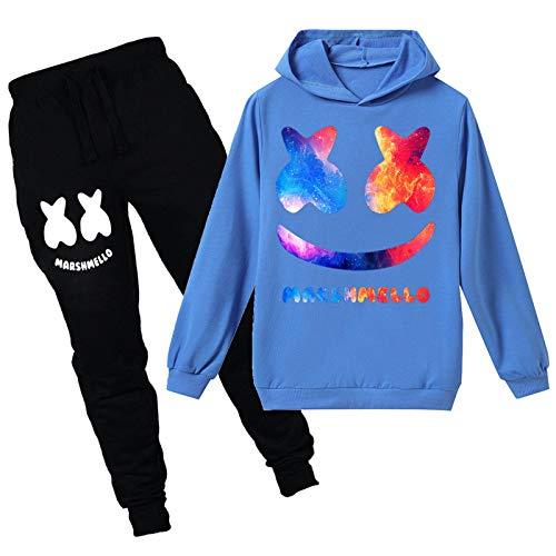 mama stadt Sportswear Sets für Mädchen Jungen Zweiteiliger Drucken Sweatshirt mit Kapuze und Hosen Trainingsanzüge Sportanzug/120