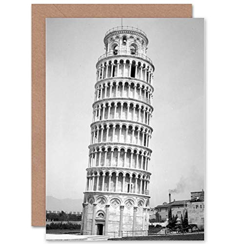 Wee Blue Coo LTD Vintage Photo Architectural Leaning Tower PISA Italy COOL Greetings Card