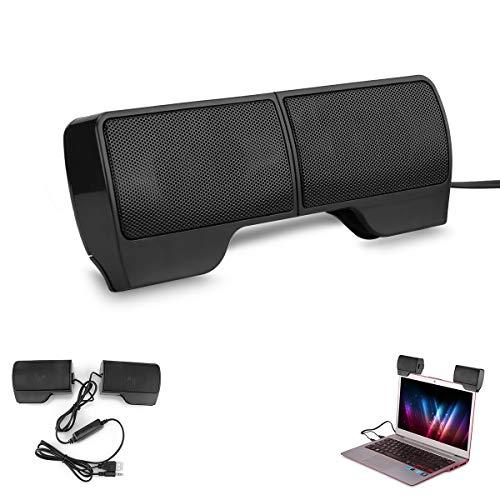 Altavoces estéreo USB Sunsbell, Mini Barras de Sonido portátiles con Clip, para computadoras portátiles/de Escritorio/tabletas-negro