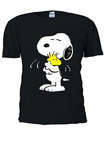 Snoopy Peanuts - Camiseta unisex graciosa y alegre con dibujos animados para hombre y mujer Negro negro. M