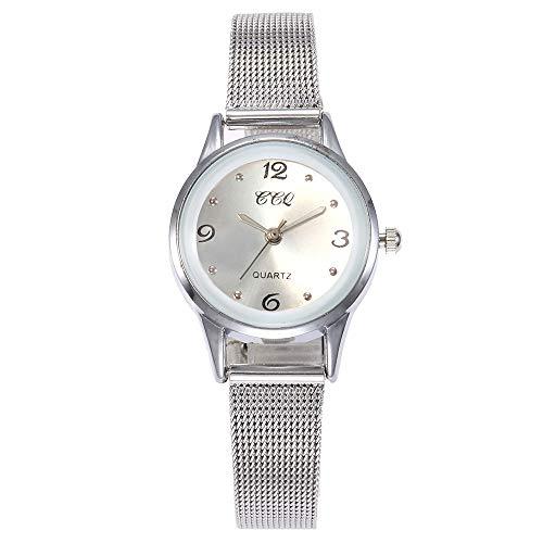 SHOUB Casual Cuarzo Banda de Acero Inoxidable Reloj de Pulsera analógico Reloj de Pulsera de mármol