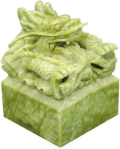 Attrezzatura vivente Testa di drago cinese Statua Verde Feng Shui Zodiaco Imperiale Avorio Dado Sigillo Decorazione Accessori Figurina Home Office Ricchezza Buona fortuna Scultura Ornamento artigia