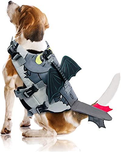 Womitre Large Dog Life Jacket, High Floatation Dog Life Vest Dog Swimsuit with Dragon Design, Adjustable Safety Preserver Lifesaver with Rescue Handle for Small Medium Large Dogs Gray