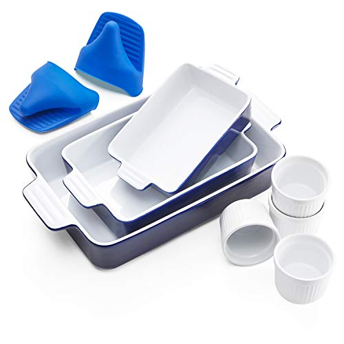 Vexilsy Baking Dish Set, Ceramic Bakeware Set Includes 3 Rectangular Nonstick Casserole Dish, 4 Ramekins, Silicone Double Finger Grip, Baking Pans for Lasagna Pan,Cooking,Cake, Dinner,Daily Use (blue)