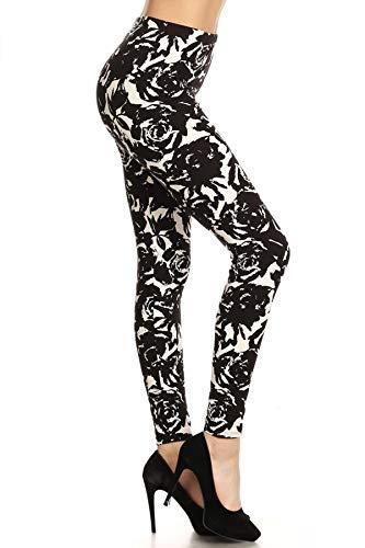 R610-OS Black Rose Print Fashion Le…