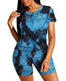 Two Piece Outfits For Womens Summer Tie Dye Lounge Sets For Women L