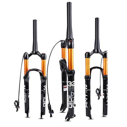 ZNND Horquillas de Suspensión Bicicleta Montaña, Aleación Magnesio Horquilla Aire 26/27.5/29 Pulgadas Control de Alambre/Control Hombro 120 Carrera (Color : D, Size : 26inch)
