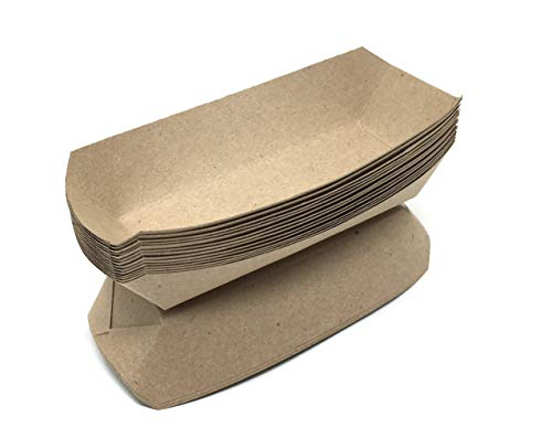 Mr. Miracle 7 Inch Paper Hot Dog Tray in Kraft Paper. Pack of 100. Disposable, Recyclable and Fully Biodegradable. Made in USA