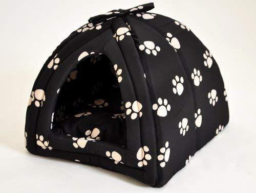 nanook Hundehöhle Kuschelhöhle Gr. L 45x45 cm schwarz mit Pfoten