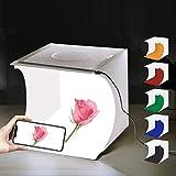 Rmeet Equipo Fotográfico Portátil,Caja de luz de Fotografía Plegable con luz LED Kit de Caja de luz con 6 Colores de Fondo Paños Luces Incorporadas y Cable USB